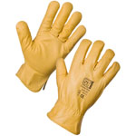 Leather Driving Gloves Yellow-lined